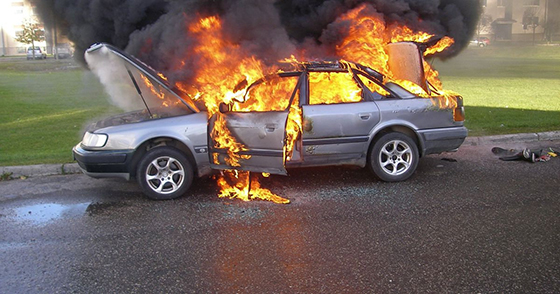 Если загорелся автомобиль… Специалист Копыльского РОЧС советует